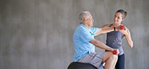 Occupational therapist providing rehab